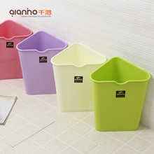 Best price plastic waste container trash can triangle shaped storage bin