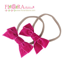 New arrival handmade velvet bows spandex nylon headbands for baby