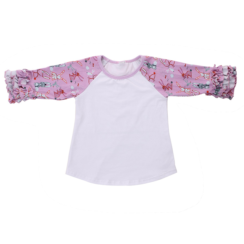 wholesales kids girls baby clothing Easter outfit ruffle cuff 3/4 sleeve rabbit cartoon print cotton shirt top