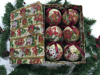 Polyfoam ball wrapped paper Flower design christmas tree ornament