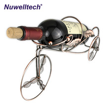 Wholesale Single bottles bicycle shape iron bronze-coloured metal wine rack holders