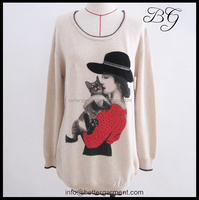 2015 loose crew neck fancy latest tops for girls, shirt model tops for women with rhinestone