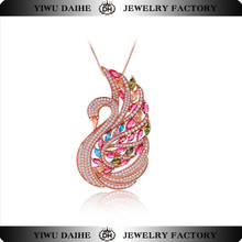 2016 Wholesale Fashion Jewelry 925 Sterling Silver Swan Necklace In Plated Rose Gold Necklace Swan Designs