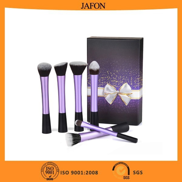 Fashion purple gift box personalized 6pcs professional makeup brushes