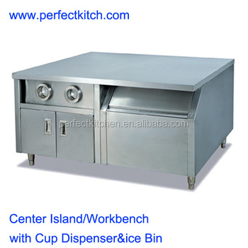 stainless steel work bench with cabinet and cup dispenser - Stainless Steel Work Bench