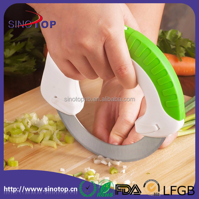 Kitchen Cutter Stainless Steel Edege with Cover Circular Rolling Round Tools Easy for Cutting Meat,Fruits,Vegetable Knife