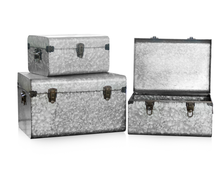 Set 3 Galvanized Metal Trunk Storage Locked Boxes