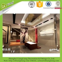 """International brand display counter designs garment shop display """