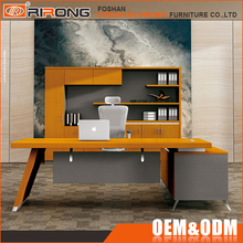 Modern brushing 304 SS frame yellow wooden executive office computer table cpmputer laptop desk