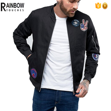 Wholesale Patch Custom Mens Bomber Jackets In Black