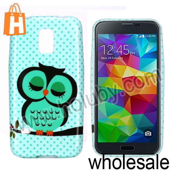 Wholesale! For Samsung Galaxy S5 Mini Owl Case,Soft TPU Case Cover For Samsung Galaxy S5 Mini G870a SM-G870a SM-G800 S5 Dx