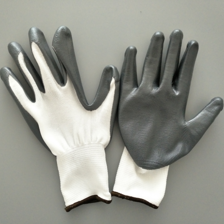 China suppliper good quality white grey nitrile coated cheap work <strong>gloves</strong>
