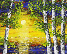 Platte knife sunset and birch forest oil painting
