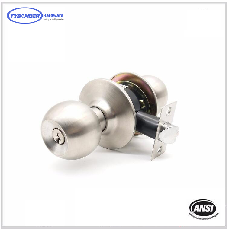Grade 2 Heavy Duty Residential, Ball Style Front Door Knob Entry Lockset, Master Keyed, US32D Stainless Steel Finish