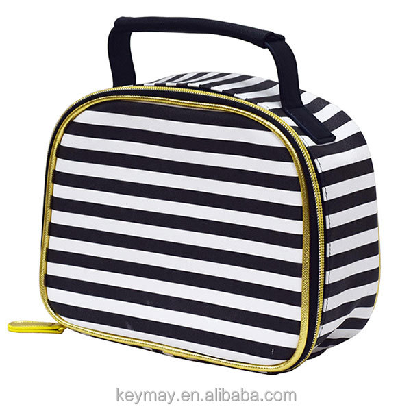 Factory love stripe printing pu leather handbag dot pvc cosmetic bag makeup pouch fashion cosmetic bag with handle