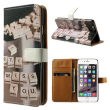 New Arrival Printed With Card Holders Cell Phone PU Leather Wallet Cases For iPhone 6/6 Plus
