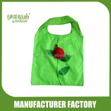 Wholesale Supply Stock Fruit Shape Rose Foldable Shopping Bag/Custom Polyester Folding Recycle Shopping Bag Into Pouch