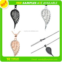 Best sell crystal 925 silver gold gunblack three color link chain crystal angel wing pendant necklace