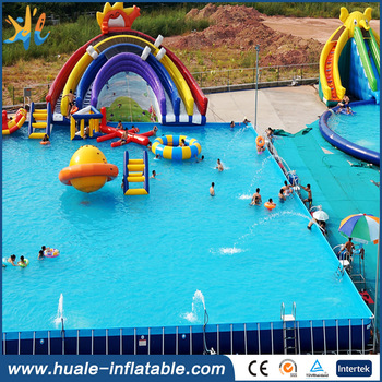 Best selling Bracket frame PVC swimming pool for adults and kids large water park bracket frame pool
