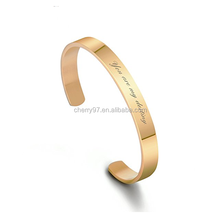 Custom Plated 24 k Gold Stainless Steel Silver Color Inspirational Mantra Bracelet Engraved Name Cuff Bangle