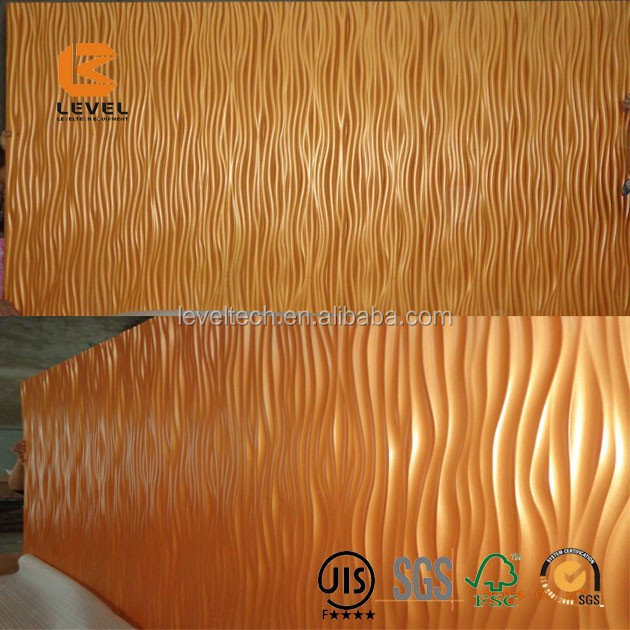 3D PVC Finish Coated Special Design Embossed Diffuser Acoustic MDF Carved Wall Panels