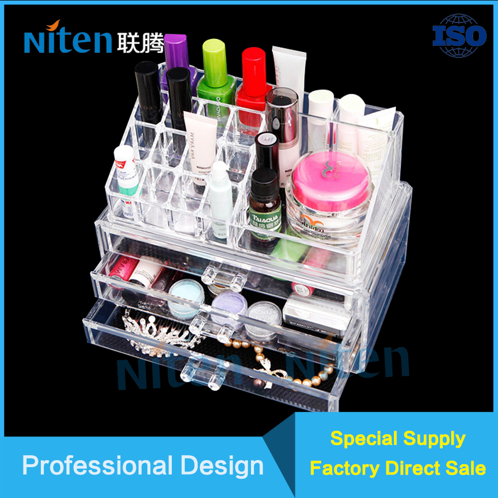 Acrylic Cosmetic Organizer with Drawer Partition Desk Tidy Tray Cosmetic Acrylic Display Stands