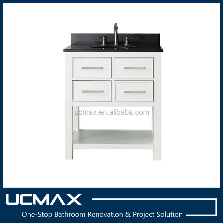 "30"" white hotel bathroom vanity with black quartz top"