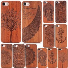 SJ107 For iPhone7 Retro Real Handmade Wood Case For iPhone 7 7 Plus Slim Luxury PC + Wood Carving Phone Cases Coque Hard Back