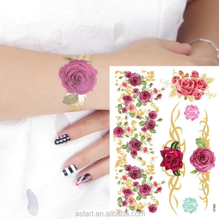 rose flower gold <strong>color</strong> temporary tattoos <strong>removal</strong>