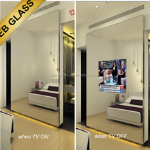 Hidden TV Mirror ,advertising mirror for the ktv room, wall mounted tv Mirror Design EB GLASS BRAND