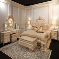 French Louis VX Royal Palace King Size Bed, Antique Gold Leaf Bedroom Furniture