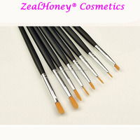 Zealhoney 8 pcs maquiagem nail tools wood handle black nail art brush