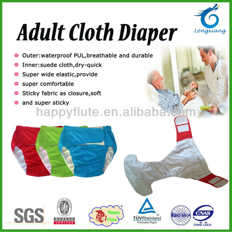 new Happyflute breathable adult cloth diapernsoft adult diaper washable