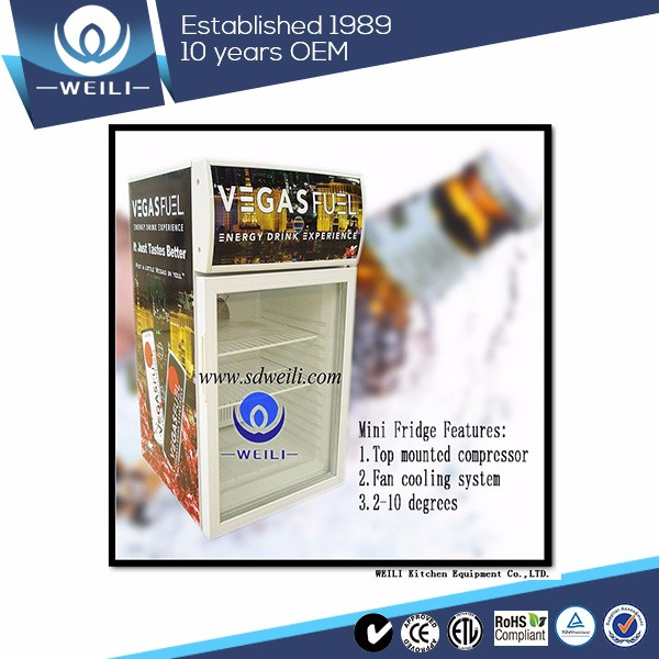Powder-coated table top freezer mini refrigerator display