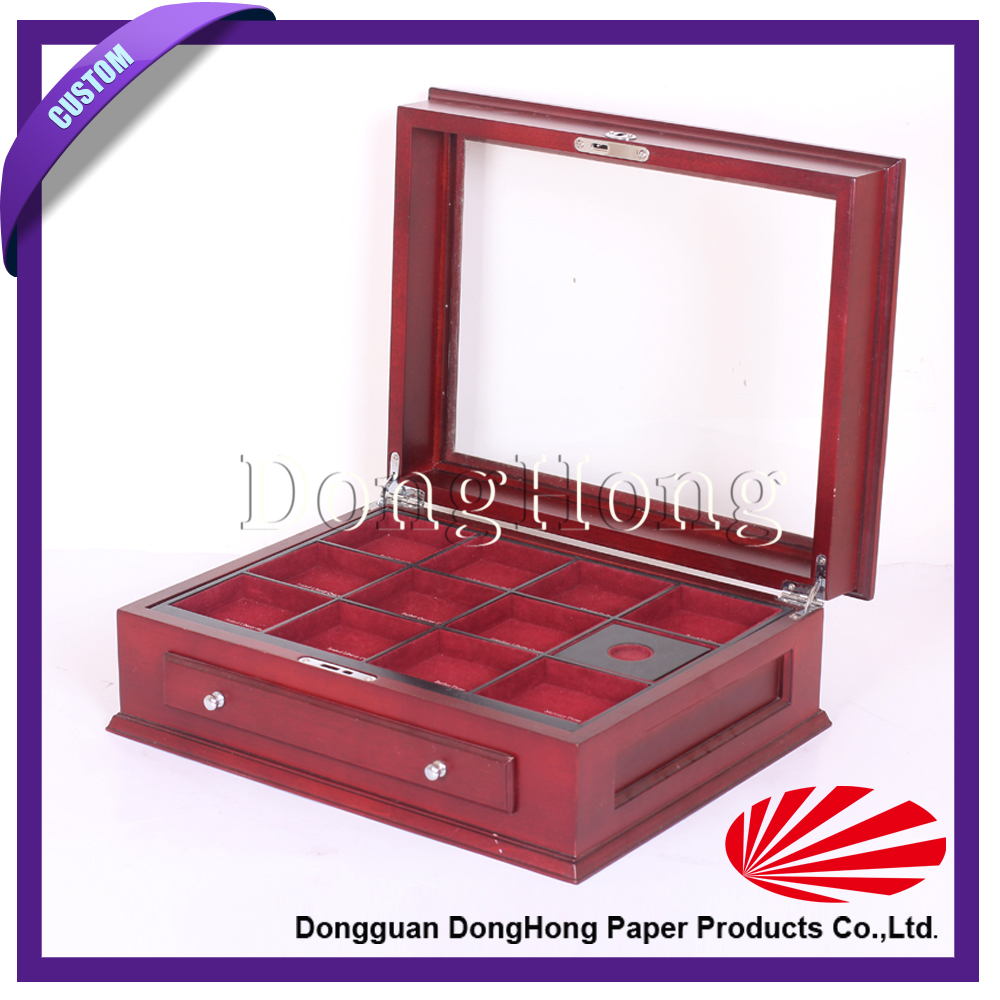 Displayed & Divided wood coin packaging case with clear window