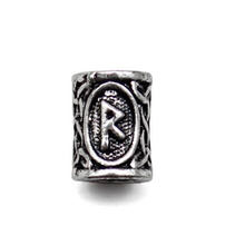 Viking Runes beads for Beards or Hair Jewelry Making Antique Beads Metal Charms for Bracelets for DIY Pendant Necklace