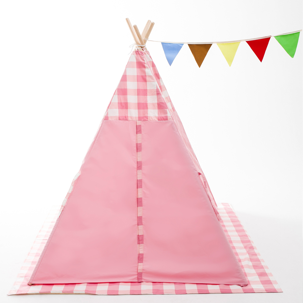 Pink plaid tent children pop up tent