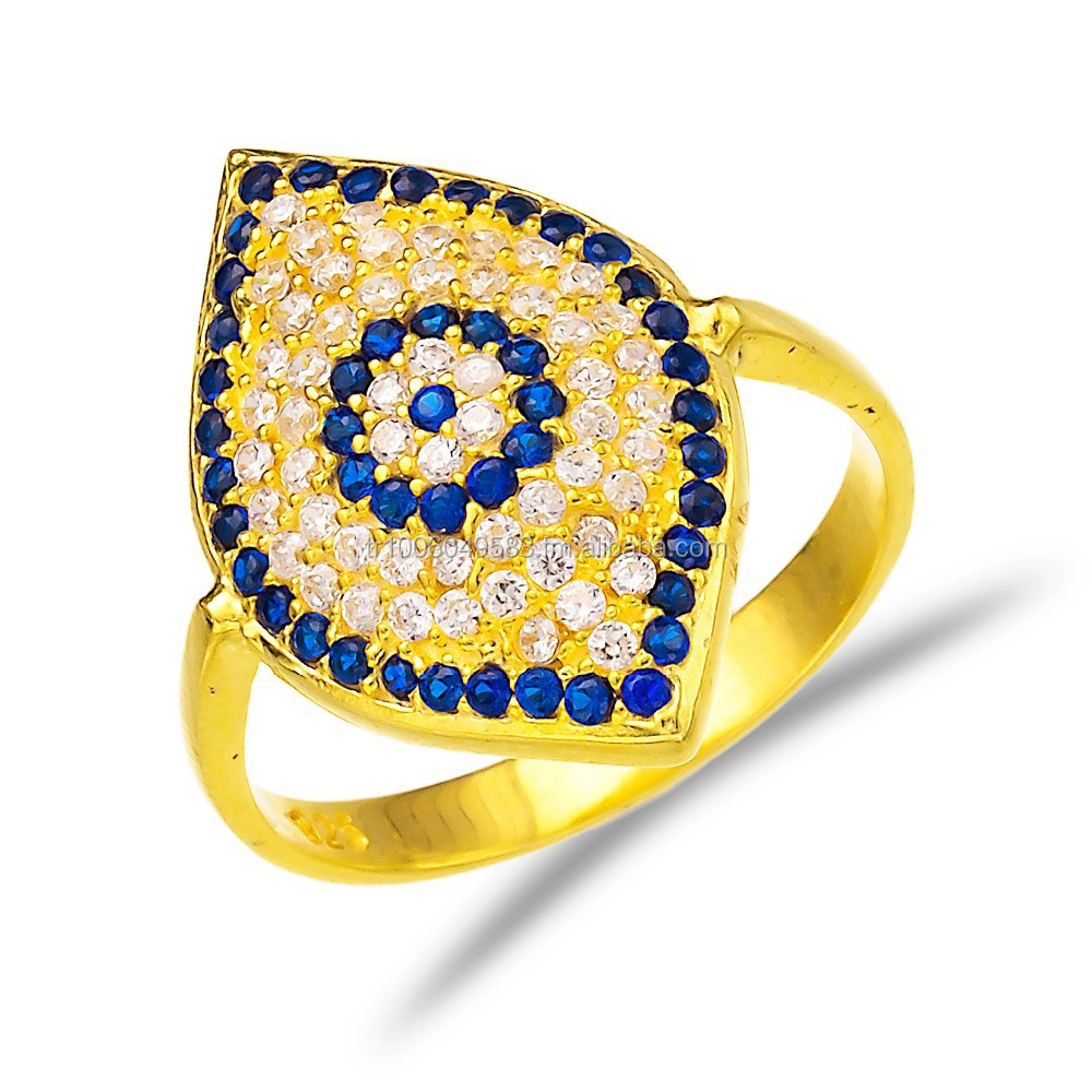 Best Selling Evil Eye Jewelry Turkish Wholesale Fashion Gold Plated 925 Sterling Silver Ring