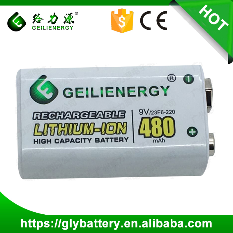 480mAh 9V Li-ion Rechargeable Battery for Smoke Detector with Two Lipo Batteries