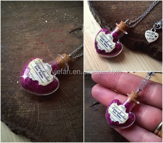 HP INSPIRED Jewelry Amortentia Love Potion Necklace Bottle Glass Vial Magical Filter