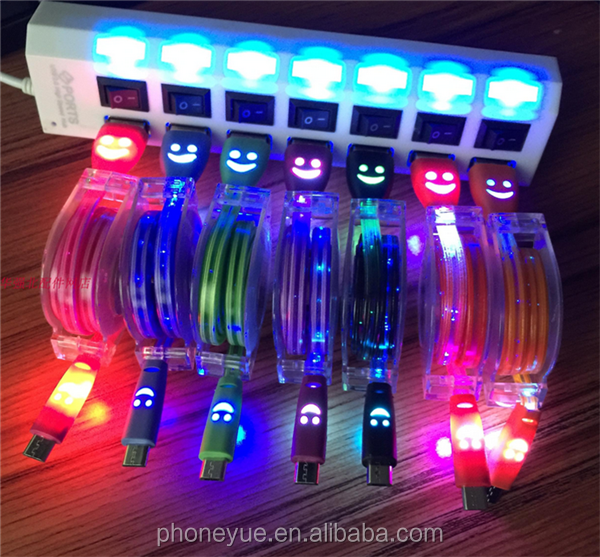 Wholesale Led Glow Luminous Light Smile Face Retractable USB Sync Data Charging Cables for iPhone 5 /6