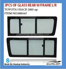 toyota hiace 3pcs of glass back with frame for KDH 200 commuter van