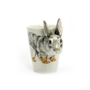 Porcelain 3D rabbit animal Handpainted Mug