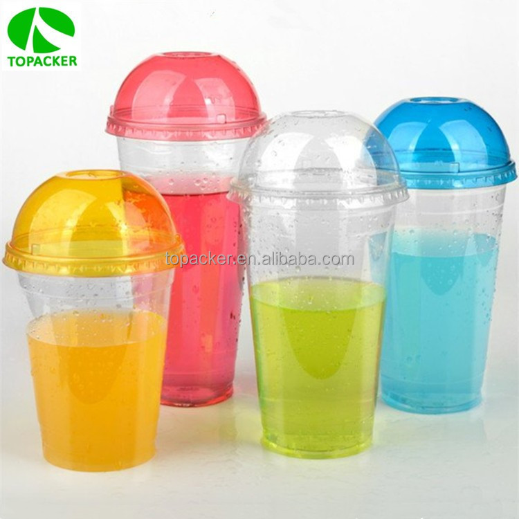 Cold drink disposable clear plastic coffee cup with lids