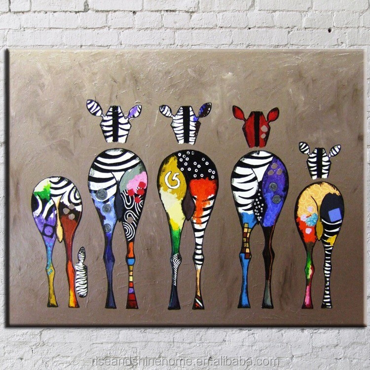 Wholesale modern abstract zebra animals decorative oil painting on canvas