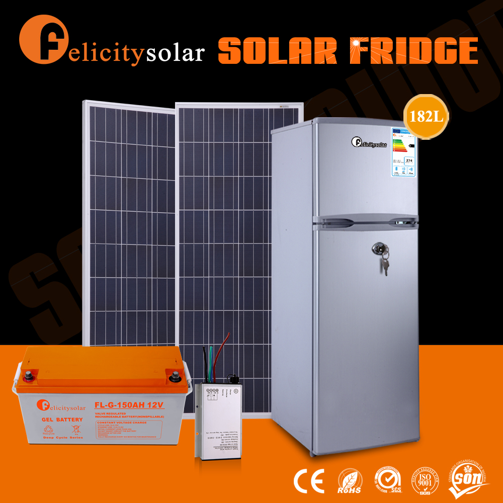 Low price hot sale solar power home double door refrigerators