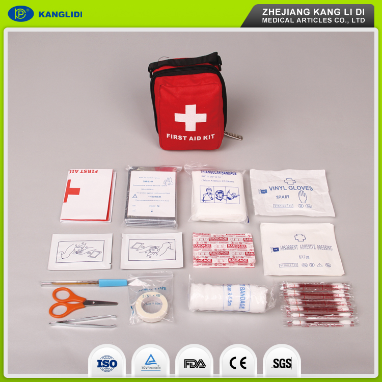 KLIDI Good Quality The Red Cross Used Portable Waterproof Nylon Material Bag Packing Mini First Aid Kits