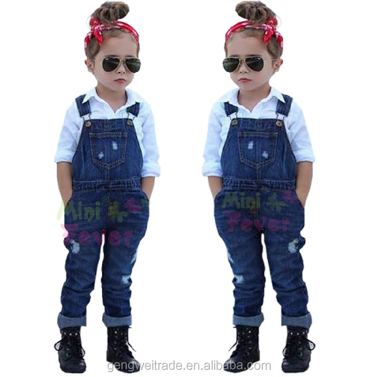 Large Size Spring Girls Clothing Set Cool shirt+jean overalls Relaxed 2 pcs set Children Clothing Set For Girls