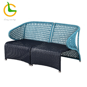 Fancy design blue aluminum woven chair for outdoor