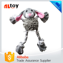 Custom Plush Rabbit with Knot Rope for Pet Chewing Toy
